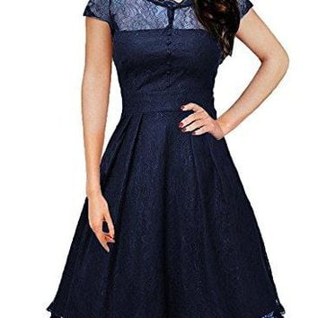 OWIN Womens Retro Floral Lace Cap Sleeve Vintage Rockabilly Swing Prom Party Bridesmaid Dress