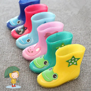 2016 New Coming Rain Boots Warm Rainboots For Boys And Girls Cartoon Children Fashion Rubber Babys Shoes Toddler For Kids Boats