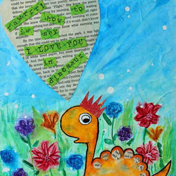 Dinosaur Art, Dinosaur Print, Nursery Decor, Rawr means I LOVE YOU in dinosaur, Print, Mixed Media Painting, Art for Nursery, 8x10, Dino art