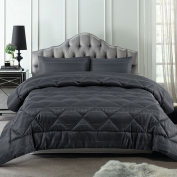 3 Piece 300TC Waffle Slate Jacquard Comforter Set by Accessorize