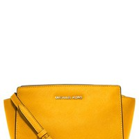 Women's MICHAEL Michael Kors 'Medium Selma' Saffiano Leather Crossbody Bag - Yellow