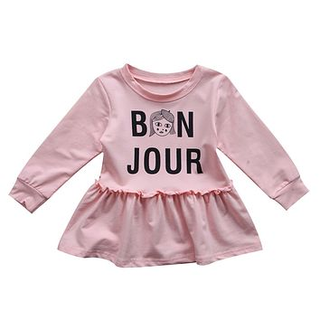 Kids Baby Girl Clothing Dress Letters Print Party Dress Cotton Tutu Ball Dresses Baby Girls Clothes Age 0-3Years