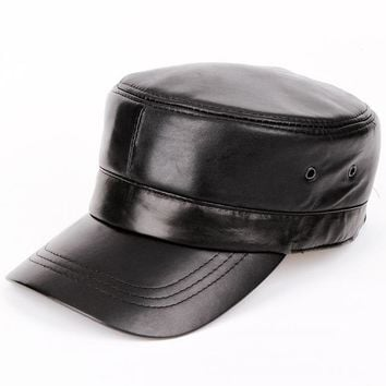 Sports Hat Cap trendy  2017 men Genuine leather Baseball Cap Biker Trucker outdoor Sports snapback Hats For Army hat  KO_16_1