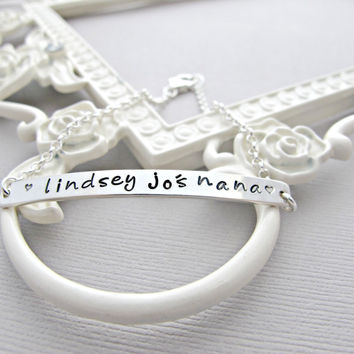 Personalized Bracelet, Silver Bar Bracelet, Hand Stamped Jewelry, NANA Bracelet, Christmas Gift, Holiday Gift, Birthday Gift, Silver