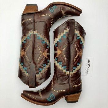 Corral Womens Brown-Turquoise Ethnic Embroidery Boots