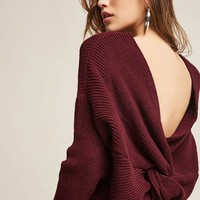 Ribbed Knit Twist-Back Sweater