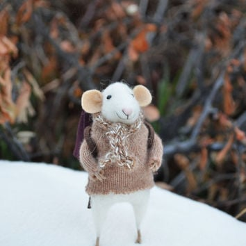 NEW Little Winter Traveler Mouse- Christmas Original artwork designed and created by Johana Molina- by Felting Dreams
