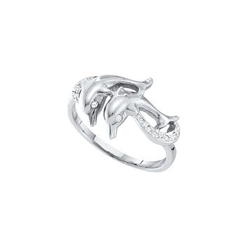 10kt White Gold Womens Round Diamond Double Dolphin Accent Ring 1/20 Cttw