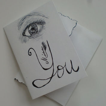 I miss you card eye miss you card ink sketch notecard miss yo