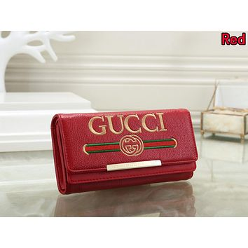 Gucci Trending Women Stylish Leather Purse Wallet Red