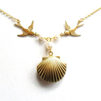 Sea Shell Swallow Locket, Mermaid Necklace, Beach Locket, Gold Tone Brass, Little Shell Locket, Nautical Jewelry, Pearls, Golden Birds
