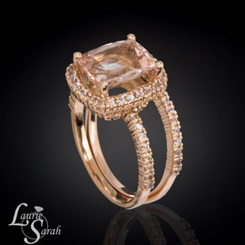 3 carat Morganite and White Sapphire Wedding Set in 14kt Rose Gold - LS3111