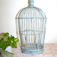 Bird Cage Blue Bird Cage Metal Bird Cage Vintage Bird Cage Dome Bird Cage Wedding Card Holder Wedding Bird Cage Wedding Decor