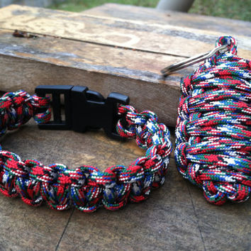 Paracord Afghanistan Veteran Survival Bracelet and Key Ring Combo