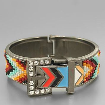 Buckle Design w/Seed Bead Chevron Bracelet