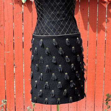 Vintage 80s Patricia Rhodes Couture Black designer dress / XS size 3 / 4 /  black / gold cocktail dress /  80s couture formal dress