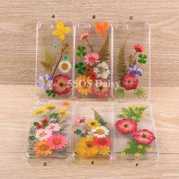 Pressed Flower Daisy iPhone 5 case, iPhone 4 case, iPhone 4s case, iPhone 5s case, iPhone 5c case, Galaxy S4 S5 Note 3 - 01023