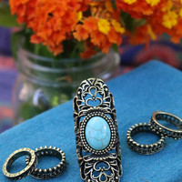 Gleam Of Light Turquoise Boho Full Finger Ring Set