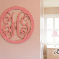 22 inch Wooden Scalloped Wall Monogram Natural Wood