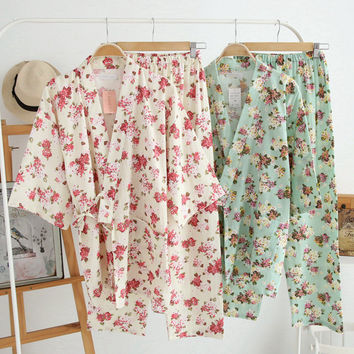 Women's Cotton Pajamas Vintage Yukata Set Womens Floral Pajamas Set Cute Homewear for Women 2016 Summer New