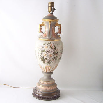 vintage ceramic table lamp victorian floral flower hollywood regency light lighting peach gray grey gold decorative home decor mid century