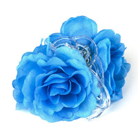 Blue Taffeta Flowers Claw Clip