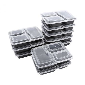 10 Pcs Plastic Bento Box Meal Storage Food Prep Lunch Box 3 Compartment Reusable Microwavable Containers Home Lunchbox