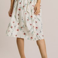 Elaine Cream Floral Midi Skirt