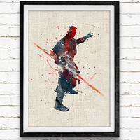 Star Wars Darth Maul Watercolor Art Print, Baby Room, Nursery Wall Art, Home Decor, Not Framed, Buy 2 Get 1 Free!