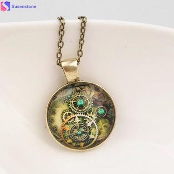 ICIKJY1 women necklace Life Tree Pendant Necklace Art Tree Glass Cabochon Bronze Retro mechanical gear time foreign jewelry necklace