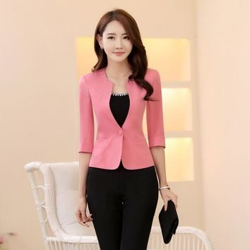 Spring Summer Formal Female Pink Blazers Women Jackets Coat Half Sleeve Blaser Ladies Office Uniform Style Work Wear Clothes