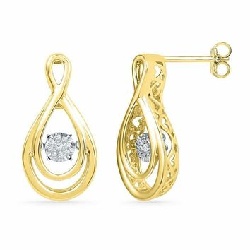 10kt Yellow Gold Women's Round Diamond Moving Twinkle Cluster Teardrop Stud Earrings 1-20 Cttw - FREE Shipping (USA/CAN)