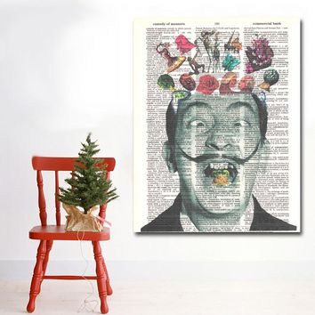 Abstract Portrait Of Salvador Dali Painting Wall Art Prints Pictures Printed On Canvas Art Print Posters For Living Room Decor