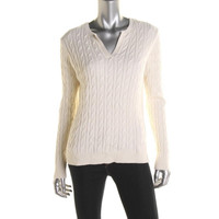 Charter Club Womens Cable Knit V-Neck Pullover Sweater