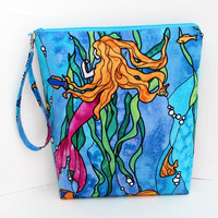 Make Up Zipper Pouch, Tall Cosmetic Bag, Mermaids of the Pacific