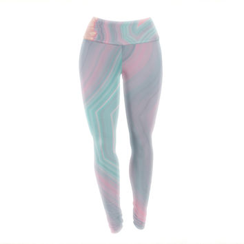 "Cafelab ""Sweet Pastel Agate"" Pink Blue Yoga Leggings"