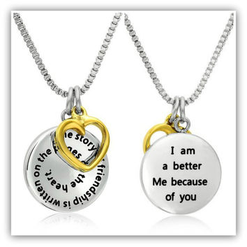 """Stainless Steel """"The Story of Friendship"""" BFFs Disc and Heart Pendant Necklace"""