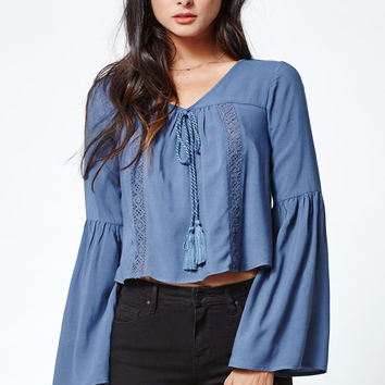 Kendall and Kylie Crochet Inset Bell Sleeve Top at PacSun.com
