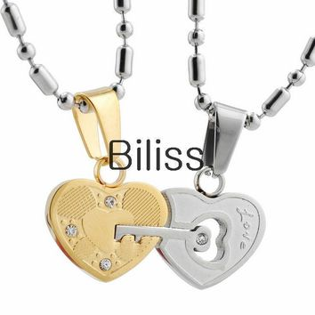 "SHIPS FROM USA Hot Stainless Steel ""Love"" Engraved Key Lock Heart Pendant Necklaces with Rhinestone for Couple Silver Gold Tone (one pair)"