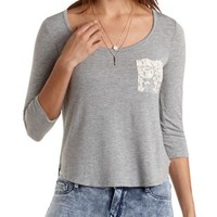 Lace Pocket Boxy Tee by Charlotte Russe