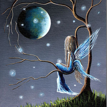 WHIMSICAL FAIRY ART canvas print 8x10 moon fae wings fireflies magical