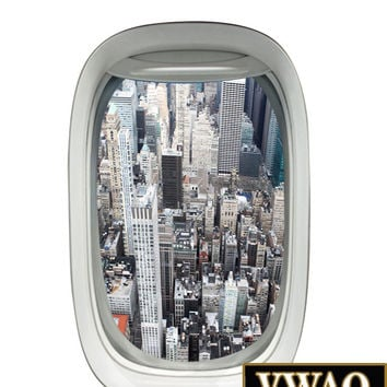 Airplane View City Skyline Wall Decal Peel and Stick Mural Aviation Wall Decor PW2