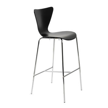 Tendy Bar Stool in Black with Chrome Legs  (Set of 2)
