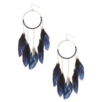 Navy & Gold Hoop Feather Dreamcatcher Earrings