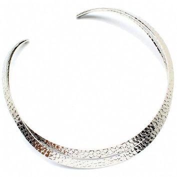 Harriet's Silver Hammered Double Strand Choker Style Necklace