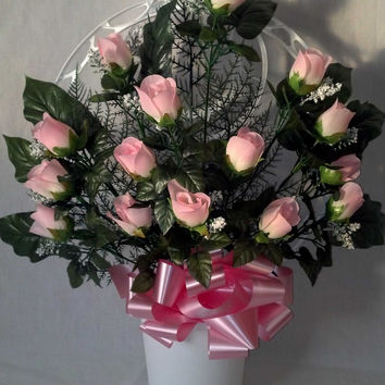 Hoop Basket Arrangement with Pink Rosebuds