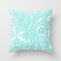 Abstract Sea Foam Floral Pattern Design by MADART Throw Pillow by Megan Aroon Duncanson ~ MADART | Society6