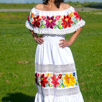 White Mexican Peasant Dress December 2017