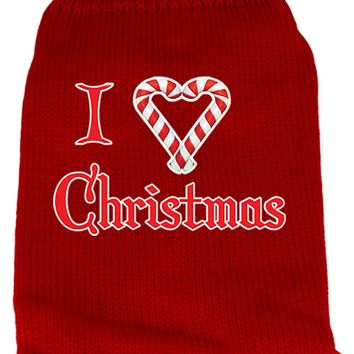 I Heart Christmas Screen Print Knit Pet Sweater Md Red Medium
