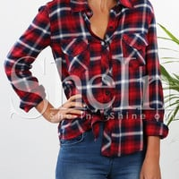 Red Long Sleeve Plaid Blouse -SheIn(Sheinside)